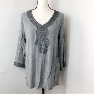 Luna Moon Gray Silver Embroidered Tunic M
